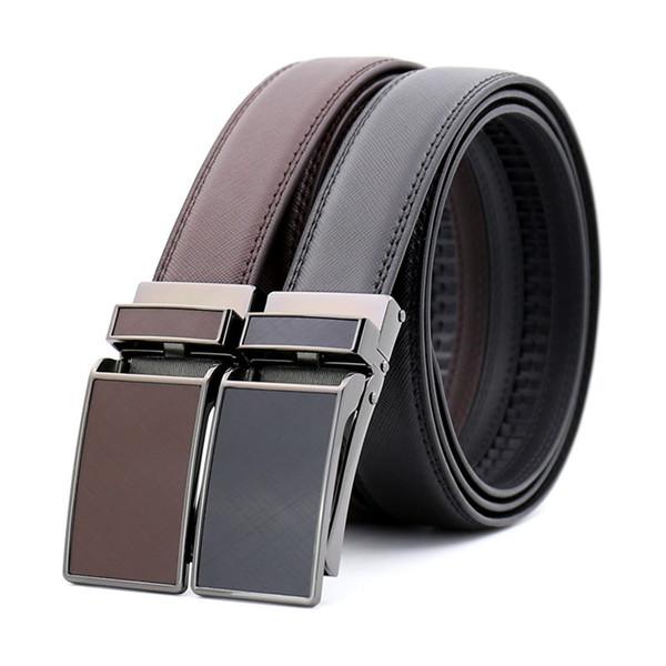 Moda Hip-hop Cinturones de cuero de vaca Hebilla automática Cinturones de negocios Estilo de Europa Jeans de lujo Correas de cintura de vaca Hombres Mujeres