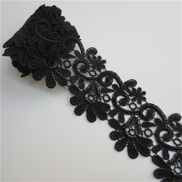 1 Yard Polyester Floral Lace Edge Trim Ribbon 6.2 cm Width Black Trimmings Vintage Fabric Embroidered Applique Sewing Craft Garment Supplies