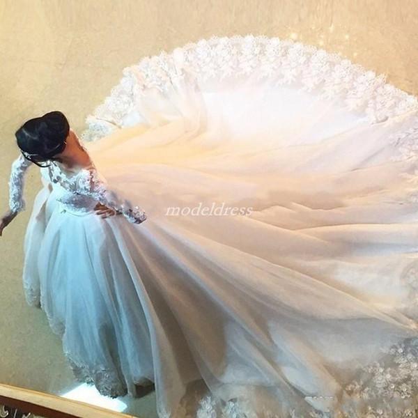 Vintage Long Sleeve Ball Gown Wedding Dresses 2019 Bateau Sweep Train Appliques See Through Chapel Garden Bridal Gowns vestido de novia