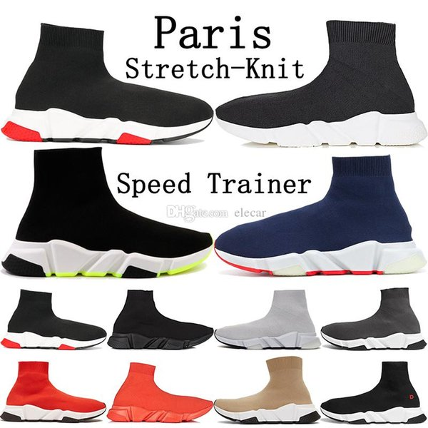 new black neon 2019 luxury paris speed trainer mens designer shoes triple white black blue orange stretch-knit sneakers womens casual shoes