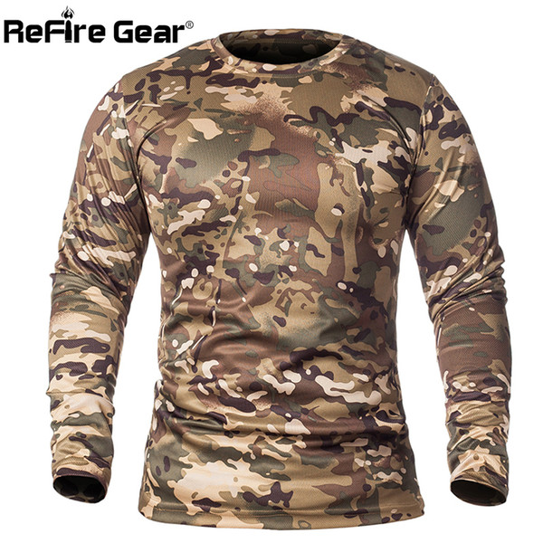 Refire Gear Spring Long Sleeve Tactical Camouflage T-shirt Men Soldiers Combat Military T Shirt Quick Dry O Neck Camo Army Shirt J190528