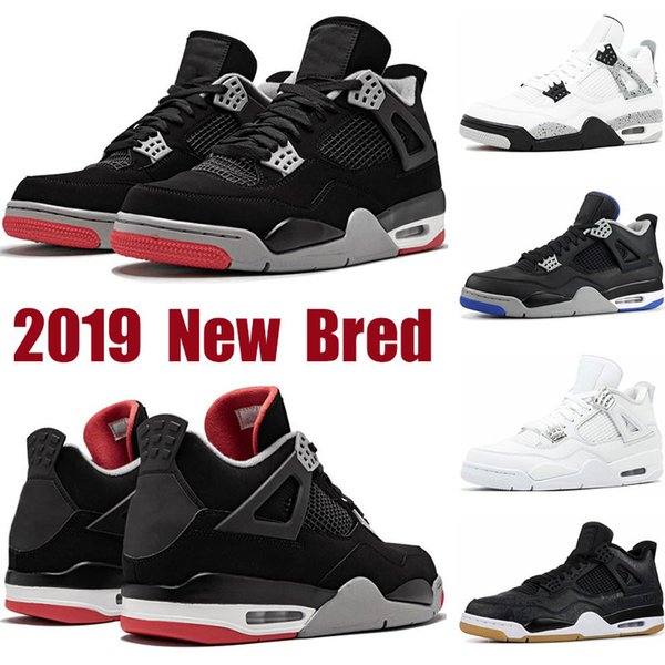 Mens basketball shoes new Bred 4s white cement Pure Money black cat Raptor SE Sngl-Dy Royalty 4 sports sneakers trainers shoes size 7-13