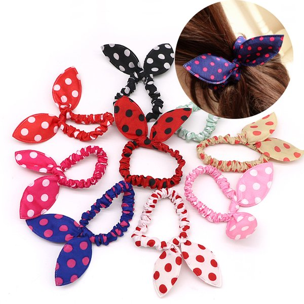 styling clip 100PCS Mix Style Bunny Clip Scrunchie Rabbit Ears Dot Elastic Rope Girls Accessories Hair Tie Gum For Women