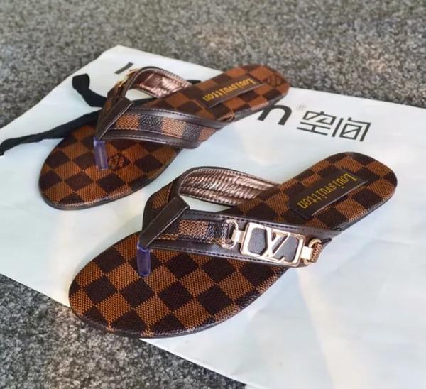2019 Fashion Europe and the US gggbrand Sandalias Cuero Zapatos nuevos Mujer Sandalias Chanclas de cuero Zapatillas de mujer al por mayor