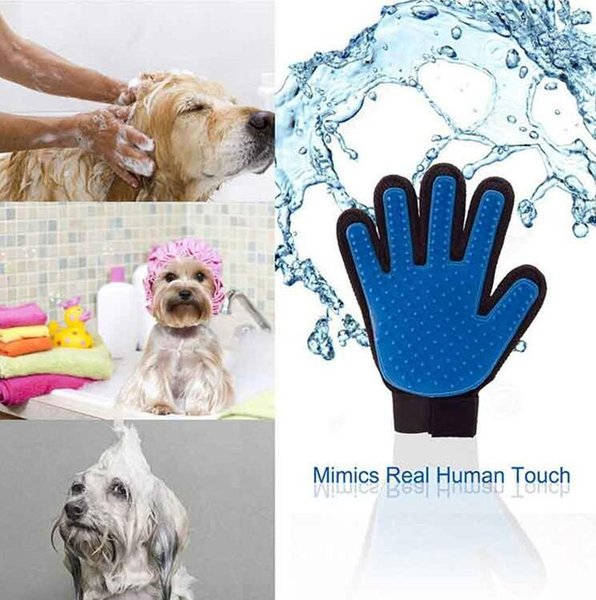 Bath Brush Cat Dog Comb Grooming Glove Pet Shedding Grooming Gloves Comb Hand Shaped Glove Five Fingers pet Clean Comb Color