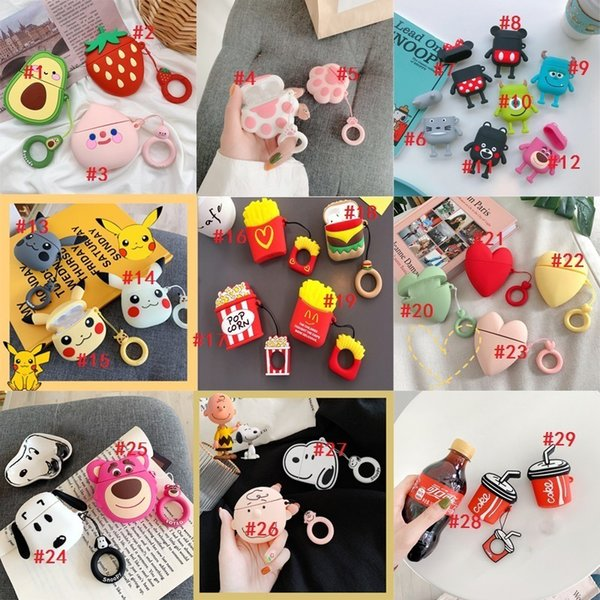 smart cell phone earbuds case earphones protector wireless headphones cover anti-drop multi-cartoon lovely mini easy to carry