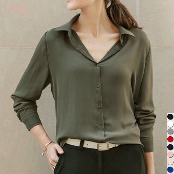 Sale Blouse Hot Women Shirts Blouses Long Sleeve Turn Down Collar Solid Ladies Chiffon Tops Ol Office Style Chemise