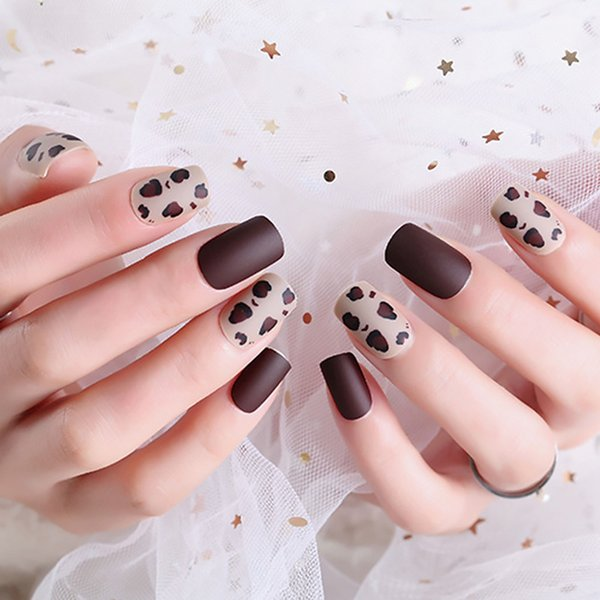 Full Cover Long Nail Art Tips with Glue Ladies Sexy Leopard Grain Design False Nail Women New Fashion Brown Coffee Fake Nails