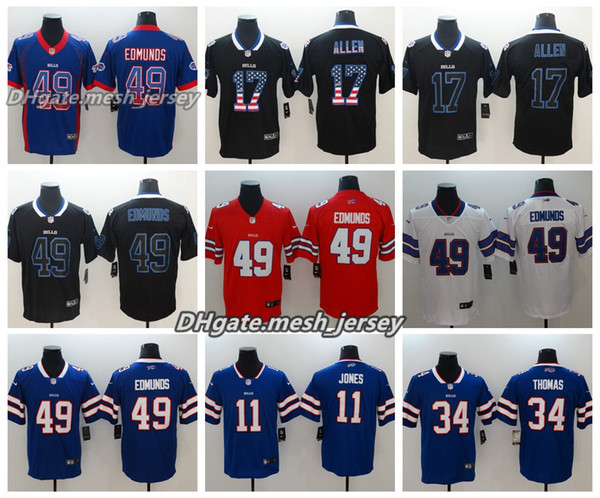 sale retailer 1d51e 99ae6 2019 Men Buffalo Jersey Bills 11 Zay Jones 17 Josh Allen 49 Tremaine  Edmunds Color Rush Football Jerseys From Pink001, $21.32 | DHgate.Com