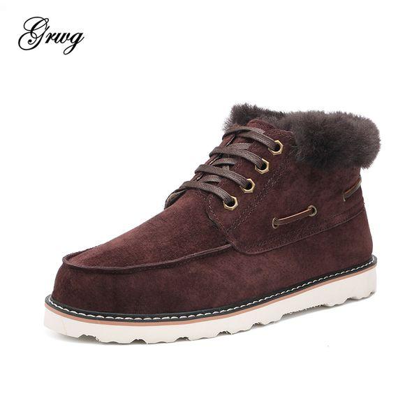 GRWG Moda Beckham botas de nieve para hombre con cordones zapatos de invierno de cuero natural de piel de lana tobillo botas cortas envío gratis