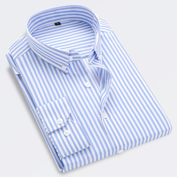 Men's Shirt Men's Business Casual Long Sleeve Shirt Striped Dress Work Social Brand M-5XL