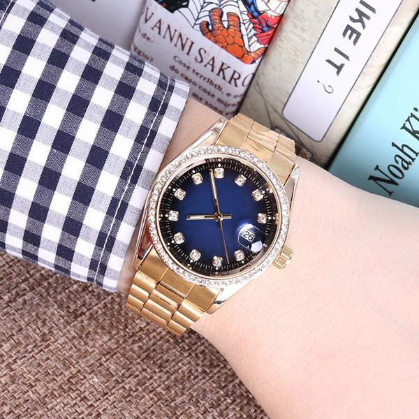 Nouveau cristal de luxe célèbre Dial Bracelet Quartz Wrist Watch cadeau de Noël pour dames femmes or rose or argent gros livraison gratuite