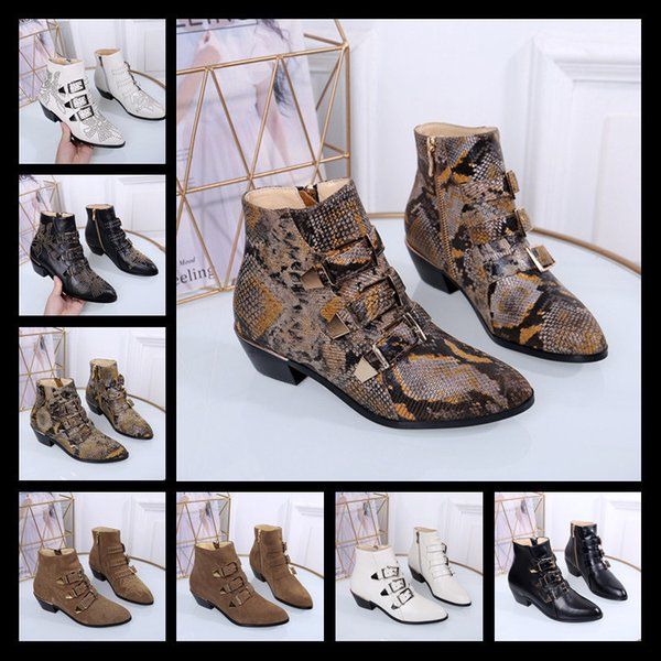 Luxury Designer Metallic Shark Lock Women Ankle Boots 14 Colors High-heeled Pumps Leather Short Booties Strap Wedges Shoes Large Size