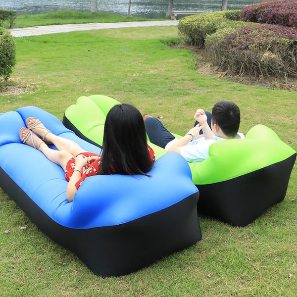 Açık Şişme Hava Kanepe Tembel Erkek Kadın Çocuk Uyku Tulumu için Taşınabilir Hava Kanepe Plaj Güneşlenme Öğle Yemeği Dinlenme Kamp Yatağı C18112601