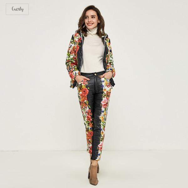 Coat Winter Women Casual Flower Printed Hooded Warm Basic Parka Suits Jacket Down Pants Sets Winter Outwear Wat270