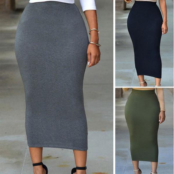 Novas Mulheres Sexy Saias Mulheres Vintage elegante cintura alta Magro lápis Saias Elastic Bodycon Pencil Skirt S-XXL