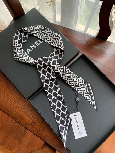 Moda jóias marca stripe Pequeno Bandeaus Scarf 100% Fita De Seda Lenços Lenço Longo Comprimento Neckscarf Cabelo Riband Bag Handle Handband