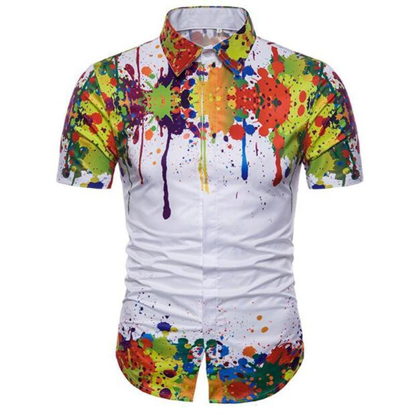 LOIEJIAOHUI лето поп корейские мужчины Гавайский пляж с коротким рукавом рубашки плеча подол чернила печати 2D повседневная рубашка с коротким рукавом