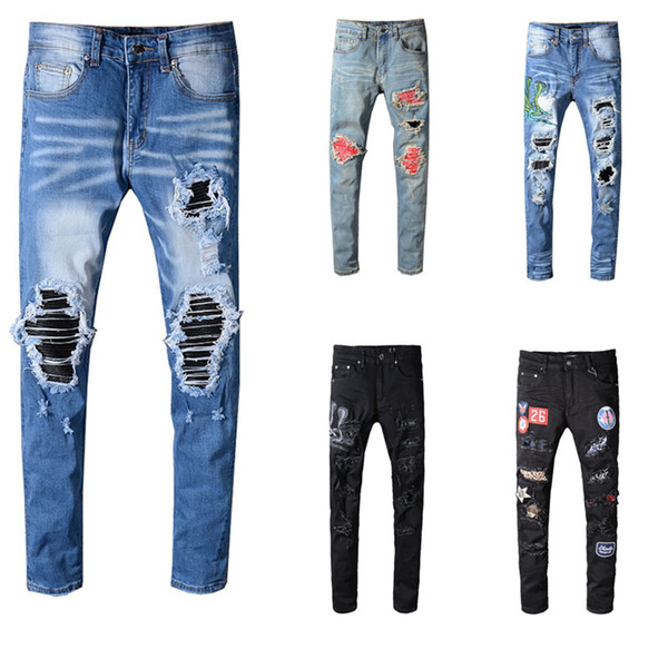 AMi Skinny jeans pour hommes trous déchirés jeans Moto Biker Denim pants Homme Marque designer Designer Hip Hop Jeans Hommes