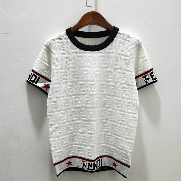 2019SS Designer Women Knitted Brand Shirt Summer High Quality Ice Silk Curved Beads Fabric Hollowed Out F Letter Print Luxury Short Sleeve