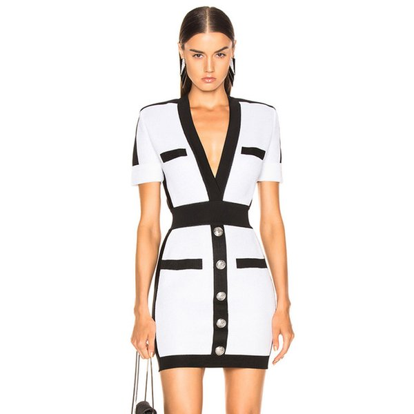 Fashion-2019 New Summer Women Bandage Dress Vestido Celebrity Evening Party Dress Sexy Deep V Short Sleeve Mini Bodycon Club Dress