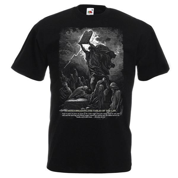 Moisés rompiendo las tablas de la ley Éxodo Cristiano católico Camiseta de algodón Camiseta Hombre Moda de manga corta Día de Acción de Gracias Personalizado X