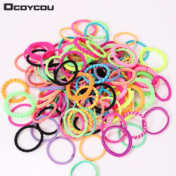 60PCS Accessories Colorful Child Kids Holders Elastic Hair Bands Cute Rubber Headband Girl Women Tie Gum C19010901
