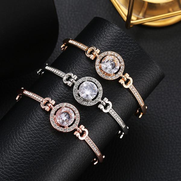 Luxe Mode Charme Argent Plaqué Cristal Manchette Bracelet À La Mode Rose Or Strass Diamant Bracelet Femmes Bijoux De Mariage Parti Accessoires