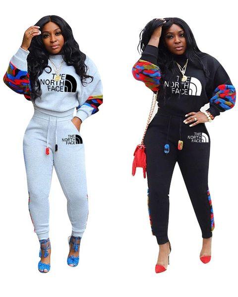 Le donne NF Autunno Tute The North Face 2 Outfits set pezzi a maniche lunghe T-shirt con cappuccio + pantaloni mimetici Patchwork sportivo Suit C120306