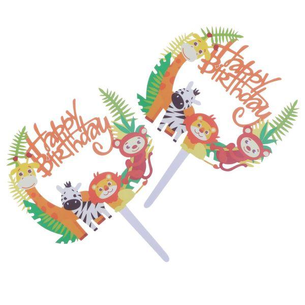 Compre 2 Unids Animal Tema Feliz Cumpleaños Cake Topper Jirafa León Acrílico Decoración De Pasteles Topper Insert Selecciones Cupcake Toppers