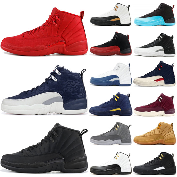 Acheter Nike Air Jordan Retro 12 12s Chaussures De Basket Ball Pour Hommes 2019 New Michigan Wntr Gym Rouge NYC OVO Laine XII Designer Chaussures