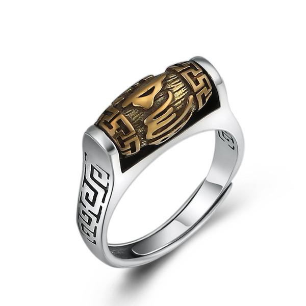 Anelli aperti d'argento 925 di 100% reali per gli uomini Gioielli di anello di buddismo di modo dell'annata regalo J190620