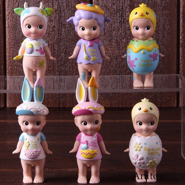 Sonny Angel Baby Doll 2018 Easter Series Mini PVC Action Figure Collectible Model Toys 6-pack