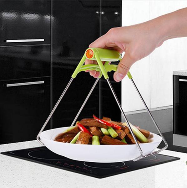 Acero inoxidable Plegable Hot Clamp Plato Anti Escaldadura Tazón Placa de Clip Olla Pinza Utensilio de Cocina Titular de la Herramienta de la Cocina