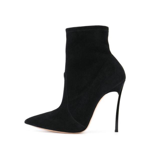 Sıcak Satış Siyah Kırmızı Streç Kumaş Kadın Ayak Bileği Çizmeler Sivri Burun Metal Bıçak Topuklar Batı Martin Boot 10 cm 2018 Kış Ayakka ...