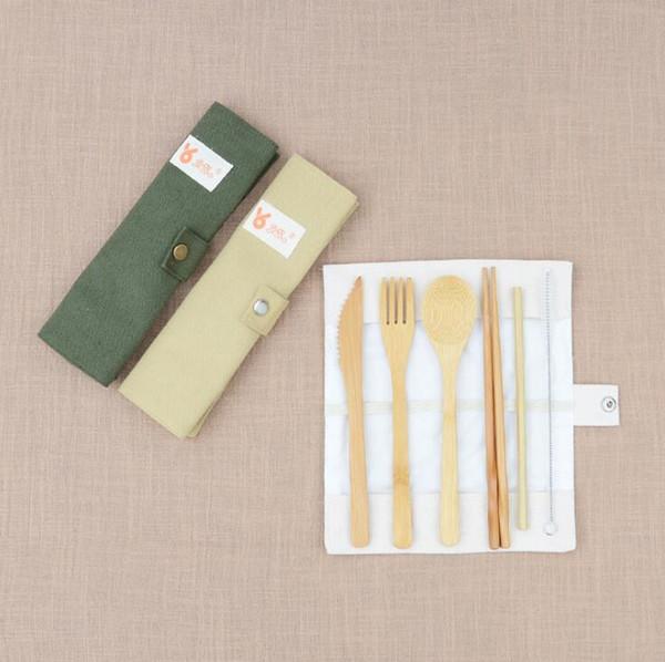 7PCS/SET Portable Cutlery Set Outdoor Travel Bamboo Flatware Set Knife Chopsticks Fork Spoon Dinnerware Sets For Student Tableware
