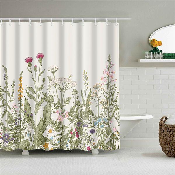 Plant Series Shower Curtain Bathroom Waterproof Polyester Shower Curtain Flower Print Curtains for bathroom shower With Hooks