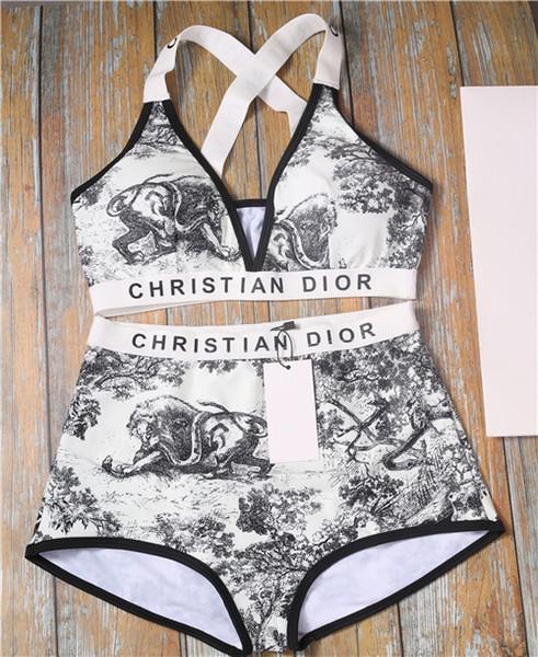 Hot new 2019 vendas de verão, moda de luxo impressão conjunto de biquíni. Tudo-em-um swimwear de praia das mulheres, frete grátis