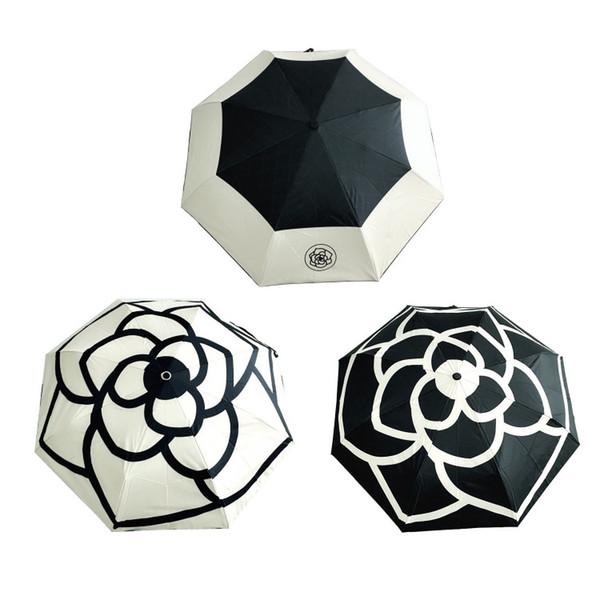 Hot Classic modello Camellia Flower con logo ombrello per le donne 3 Fold Luxury ombrello con scatola regalo e bag Rain Ombrello