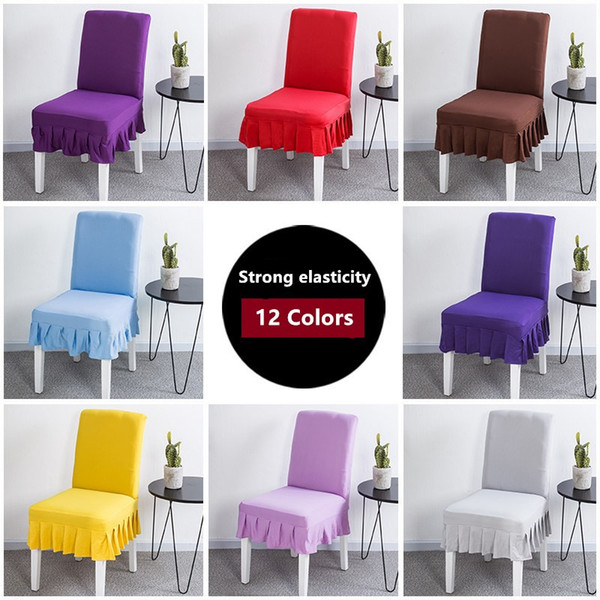 Solid Color Spandex Stretch Ruffled Chair Cover Pleated Flounced Seat Cover For Wedding Party Dining Office Banquet