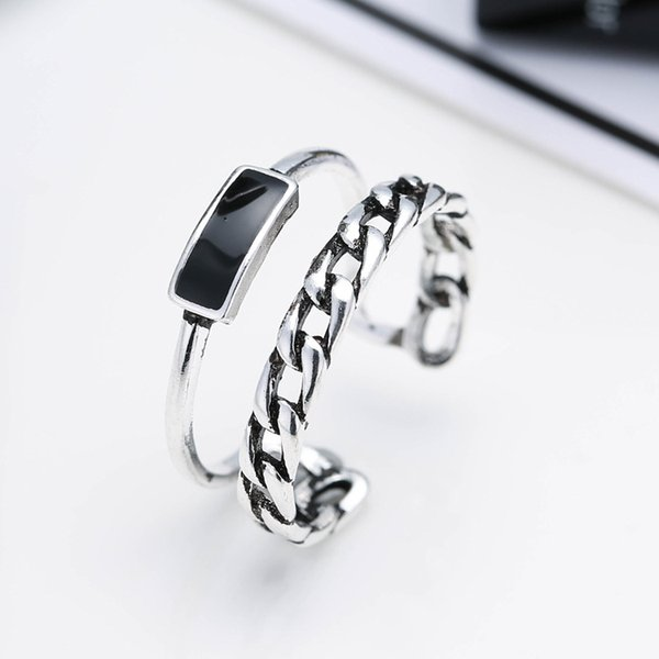 100% 925 Sterling Silver Black Resin Female Open Party Rings Original Jewelry For Women No Fade Cheap Girls Ring Drop Shipping