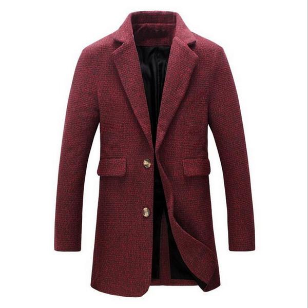 VXO 2019 Men Wool Blend Coat Autumn and Winter New Fashion Boutique Solid Color Casual Business Men's Long Woolen Coats