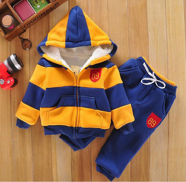 Childrens Boys Girls Children Hoodies Winter Baby Sports Suit New Jacket Sweater Coat & Pants Thicken Kids Clothes Sets