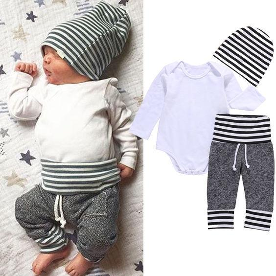 Newborn Toddler Kids Baby Boys Girls Clothes Set Outfit T-shirt Hat Tops Pants 3PCS Casual Set Clothes Y190515