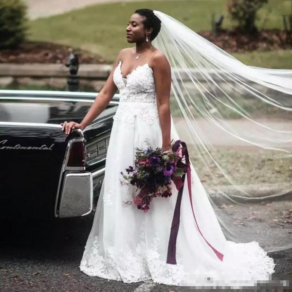 Plus Size Apliques de Cintas de Espaguete Vestidos de Casamento Boho 2019 Trem Da Varredura Zipper Up Africano Formal Vestidos de Noiva Vestidos De Casamento Das Meninas Negras