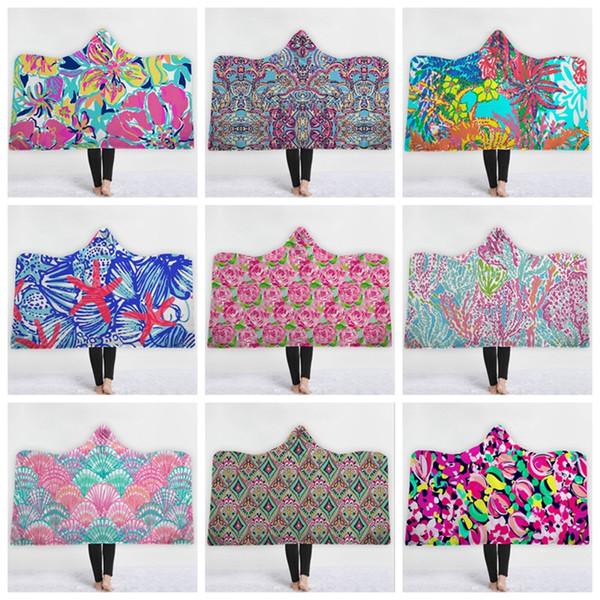 Lilly Hoodie Blanket Personalized Sherpa Fleece Blankets Warm Wearable Blanket Winter Cape Kids Christmas Gift 37 Designs 10pcs YW1621