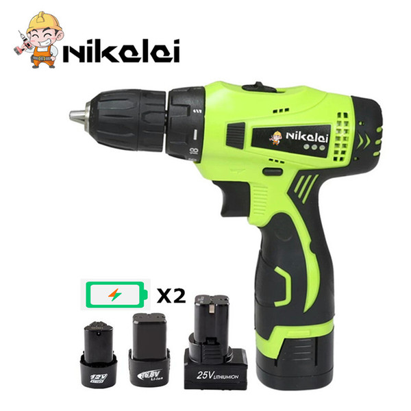 NEW 12V 16.8V 25V Cordless screwdriver 2 Speed Lithium Battery*2 Waterproof motor Electric Screwdriver drill Power Tools