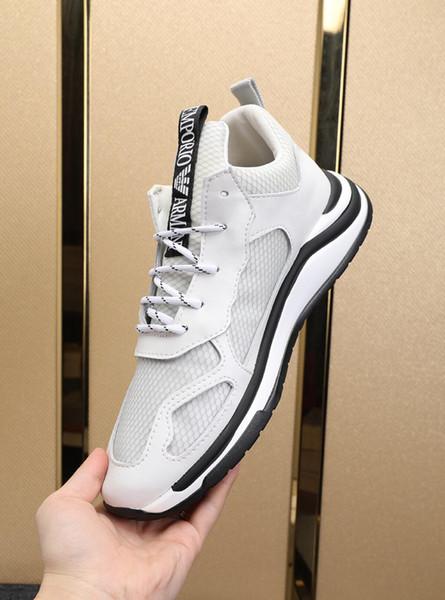 2019w пользовательские новые мужские кожаные сетки шить дикая мода повседневная обувь, удобная и дышащая спортивная обувь. Оригинальная упаковка коробки