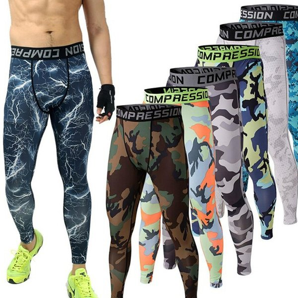 Wholesale-Mens Joggers 2016 3d leggings GYM Compression Pants Running Tights Men Camouflage Sport Training Leggings Crossfit Trousers