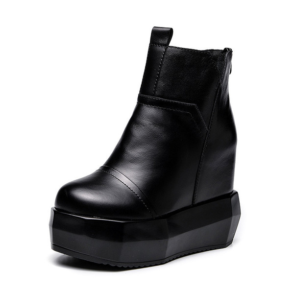 2019 Autumn And Winter New Leather Women's Shoes Women's Boots Thick-soled Super High-heeled Casual Martin Boots Shoes